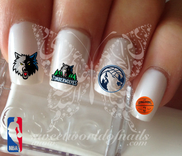 Minnesota Timberwolves NBA Basketball Nail Art Water Decals Nail Transfers Wraps