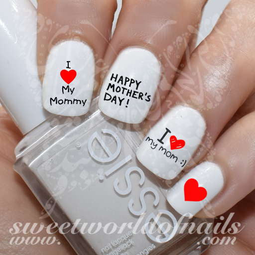 Mother's Day Nail Art I Love Mom Nail Water Decals Slides