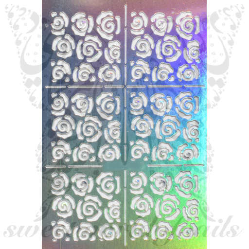 Flower Nail Vinyls Nail Art Stencil Stickers /2 Sheets