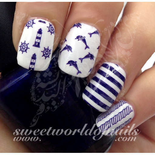 Nautical Nail Art Dolphins Lighthouse Blue stripes Water Full Wraps