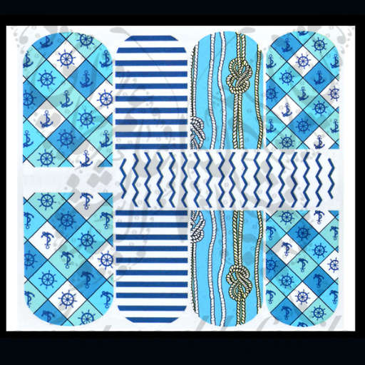 Nautical Nail Art Summer Beach Nail Water Full Wraps