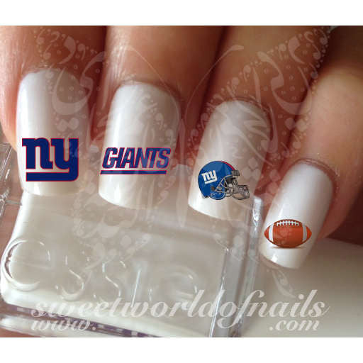 New York Giants Football Nail Art Water Decals Nail Transfers Wraps