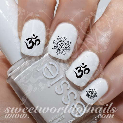 OM Sign Lotus Flower Nail water decals transfers wraps