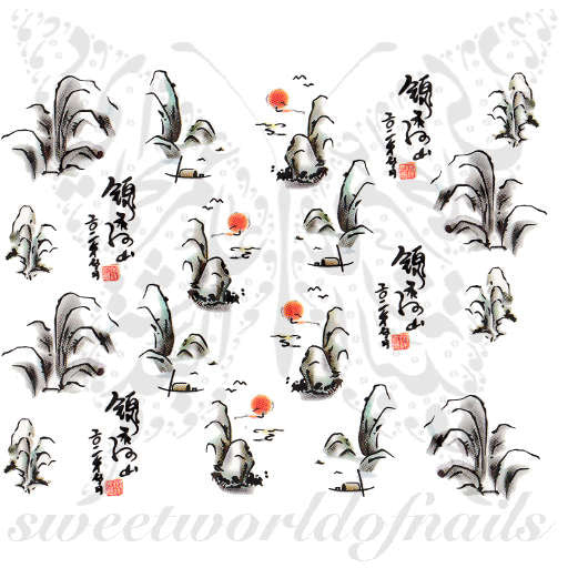 Oriental Landscape Nail Art Nail Water Decals Water Slides