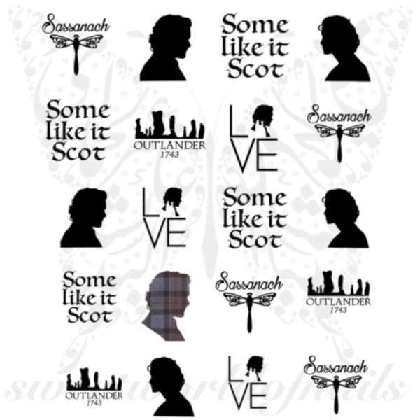 Outlander Nails Jamie Fraser Sassanach Water Decals