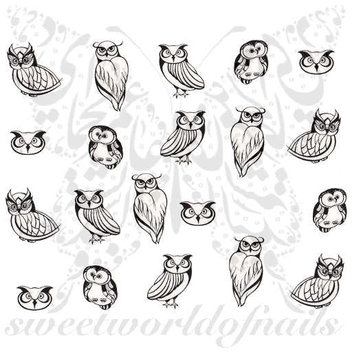 Black Owls Nail Art Nail Water Decals Water Slides