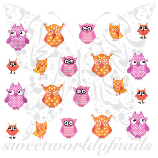 Owls Nail Art Pink and Orange Owls Nail Water Decals Slides