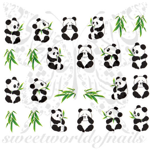 Panda Nail Art Bamboo Leaves Nail Water Decals Slides