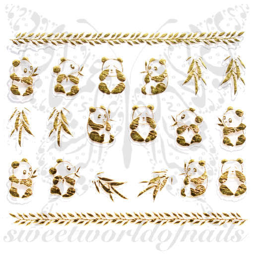 Gold Panda Bamboo Leaves Nail Stickers Nail Decoration