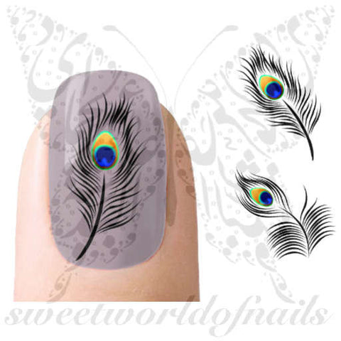 Peacock Feathers Nail Art Nail Water Decals Transfers Wraps