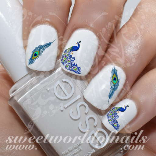 Peacock Nail Art Feathers Nail Water Decals Water Slides