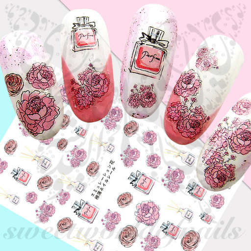 Perfume Pink Flowers Nail Art Stickers