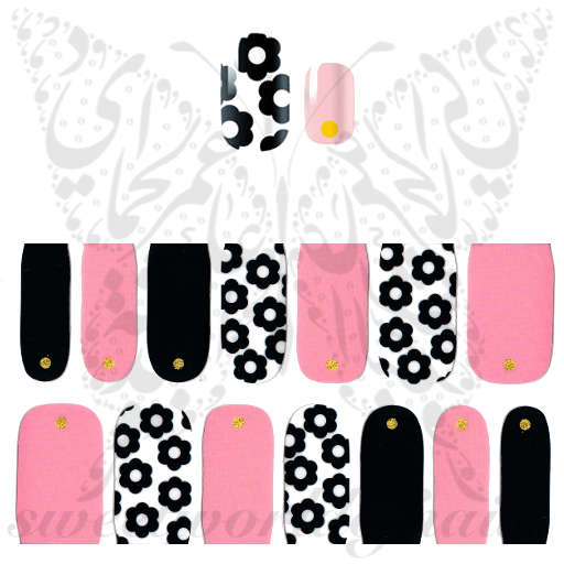 Pink Black Flower Nail Art Full Nail polish wraps stickers