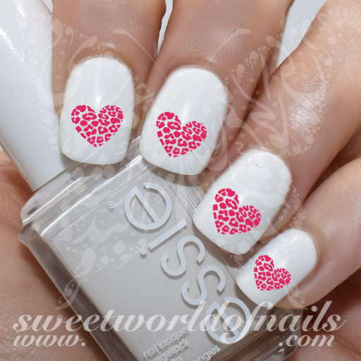 Pink Leopard Heart Nail Water Decals Water Slides