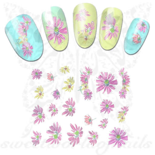 Flower Nail Art Pink And Yellow Flower Nail Art Nail Stickers