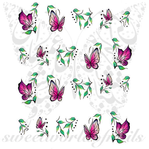Pink Butterflies Nail Art Water Decals