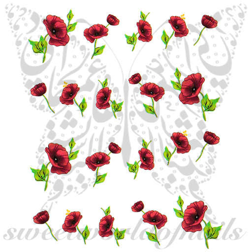 Poppy Flower Nail Art Nail Water Decals Slides
