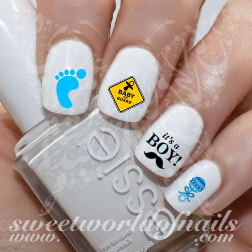 Pregnancy Nail Art Baby Gender Reveal Baby Shower Nail Water Decals Its a Boy Water Slides
