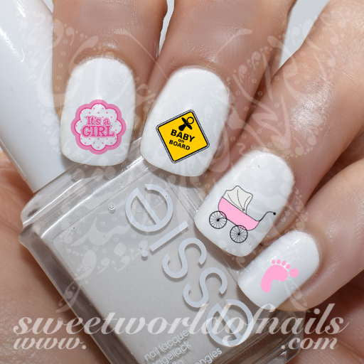 Pregnancy Nail Art Baby Gender Reveal Baby Shower Nail Water Decals Its A  Girl Water Slides
