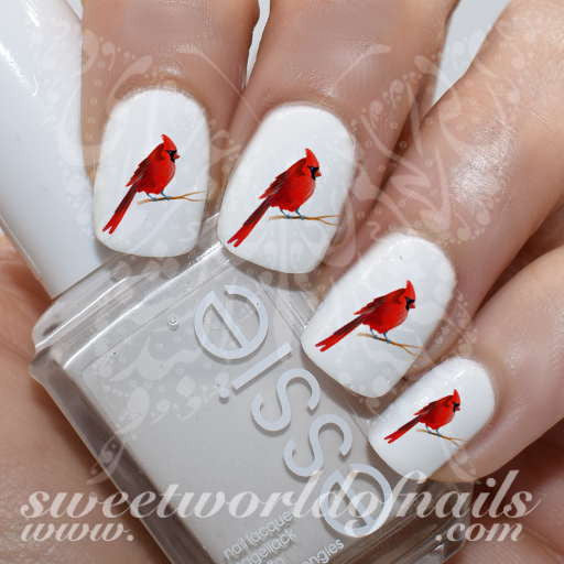 - Red Cardinal Nail Art Bird Nail Water Decals Slides