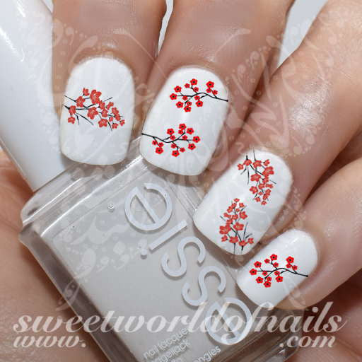 Red Cherry Blossoms Japanese Tree Sakura  Nail Water Decals Transfers Wraps