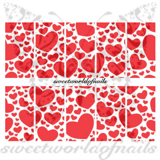 Valentine's Day Nail Art Red Hearts Nail Water Full Wraps