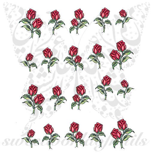 Red Rose flower Nail Art Water Decals