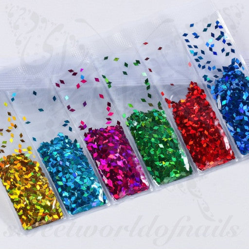 6 colors in one bag Rhombus Nail Glitter