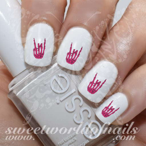 Rock On Skeleton Hand Nail Art Water Decals Nail Transfers Wraps
