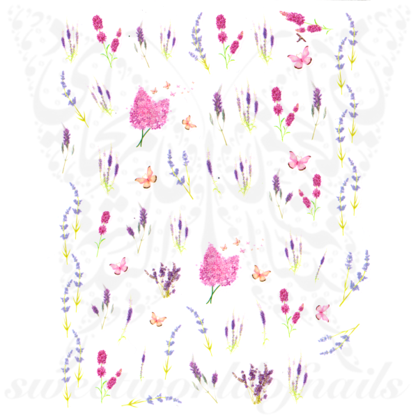 Spring Nail Art Lavender Flowers Nail Stickers