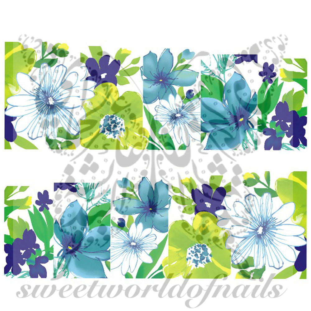 Blue Flower Full Nail Wrap Nail Art Nail Water Decals Transfers Wraps