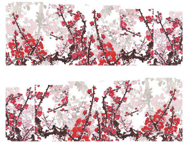 red cherry blossoms nail water decals transfers wraps