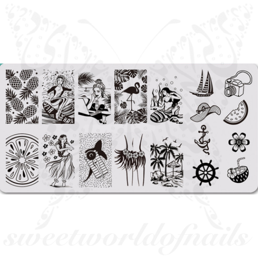 Sea Summer Nail Art Stamping Plate