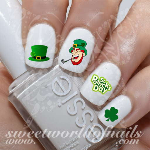 Saint Patrick's Day Nail Art Leprechaun Hat Shamrock Nail Water Decals Water Slides