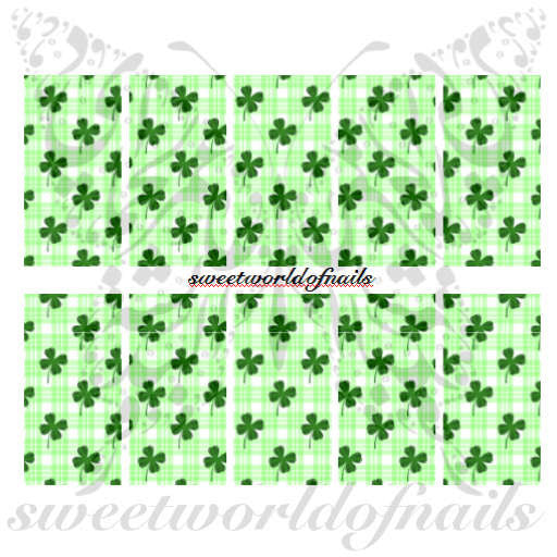Saint Patrick's Day Nail Art Green Clover Nail Full Wraps Nail Water Decals