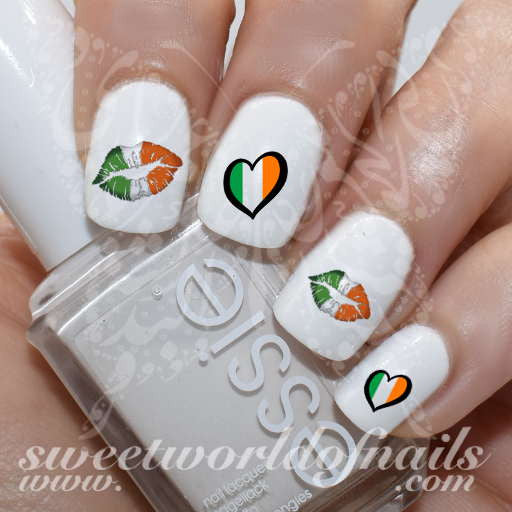 Saint Patrick's day Nail Art Irish Flag Heart Kiss Lips Nail Water Decals Water Slides