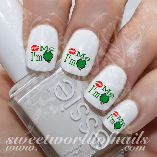 Saint Patrick's day Nail Art Kiss Me I'm Irish Nail Water Decals Water Slides