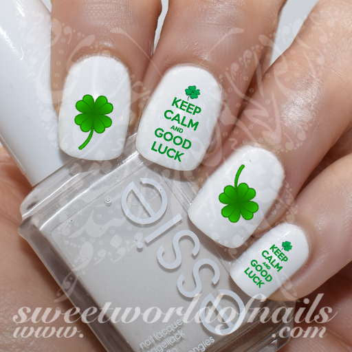 Saint Patrick's Day Nail Art Shamrock Green Clover Keep Calm and Good Luck  Nail Water Decals - Saint Patrick's Day Nail Art Shamrock Green Clover Keep Calm And Good