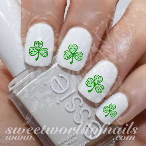 Saint Patrick's Day Nail Art Shamrock Clover Nail Water Decals Water Slides