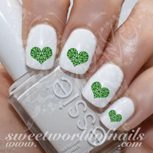Saint Patrick's day Nail Art Shamrock Heart Nail Water Decals Water Slides