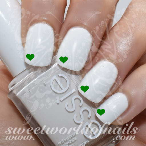 Saint Patrick Nails Mini Green Hearts Water Decals