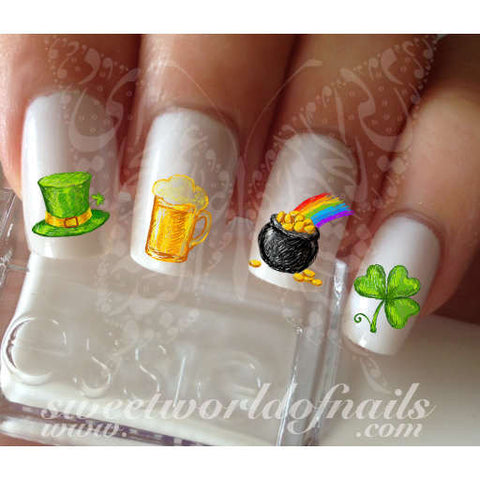 Saint Patrick's Day Nail Art Clover Shamrock Beer Hat treasure Water Decals