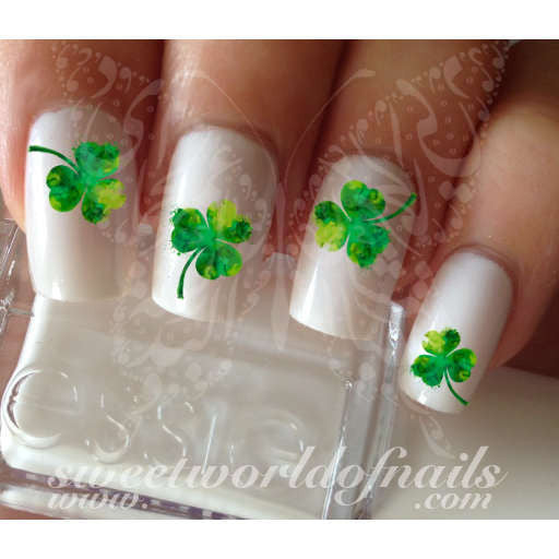 Saint Patrick's Day Nail Art Clover Shamrock Water Decals