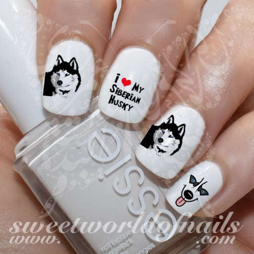 Siberian Husky Nail Art Dog Nail Water Decals Wraps