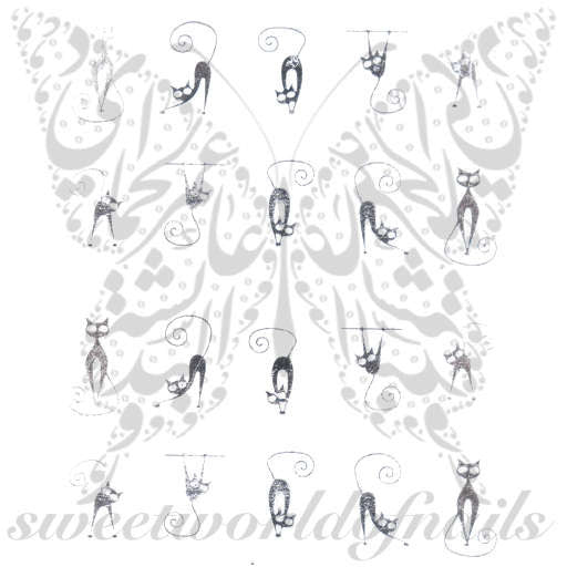 Silver Cat Nail Art Nail Water Decals