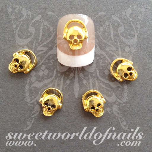 Skull Nail Art 3D Gold Metal Skulls Nail Charms Nail Decoration