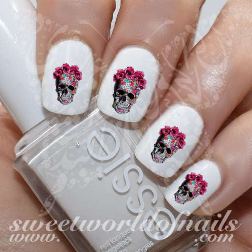 Skull Nail Art Flower Skulls Nail Water Decals Water Slides