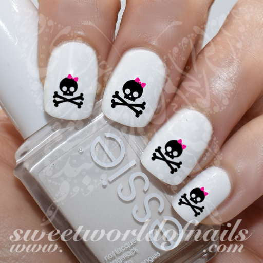 Skull Nail Art Skull with Pink Bow Nail Water Decals Water Slides