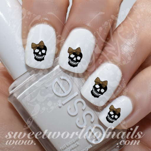 Skull Nail Art Leopard Bow Skulls Dia de los muertos Nail Water Decals  Water Slides - Skull Nail Art Leopard Bow Skulls Nail Water Decals Water Slides