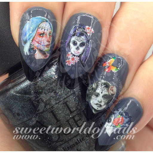 Skulls nail art water decals water slides sugar skulls nail art water decals water slides prinsesfo Image collections
